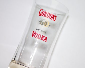 Vintage (1960s) first-issue Gordon's Deluxe Vodka hi-ball glass. Etched-glass branding. Sold individually.