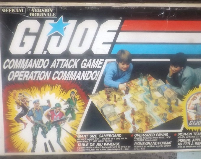 Vintage (1985) GI Joe Commando Attack board game published by Milton Bradley.  99.9% complete (see details below).