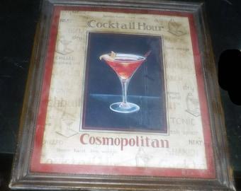 Vintage metal wall art - Cocktail Hour Cosmopolitan Martini. Great home bar wall decor.