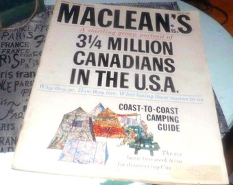 Vintage (July 27, 1963) Macleans magazine Canadian Americans cover issue, Coast-to-Coast Canadian Camping Guide.