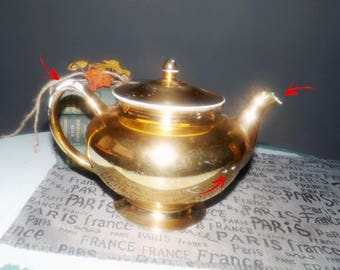 Almost antique (1920s) George H. Bowman & Sons Ohio USA gold luster teapot with lid.  Eggshell Nautilus H51N5.