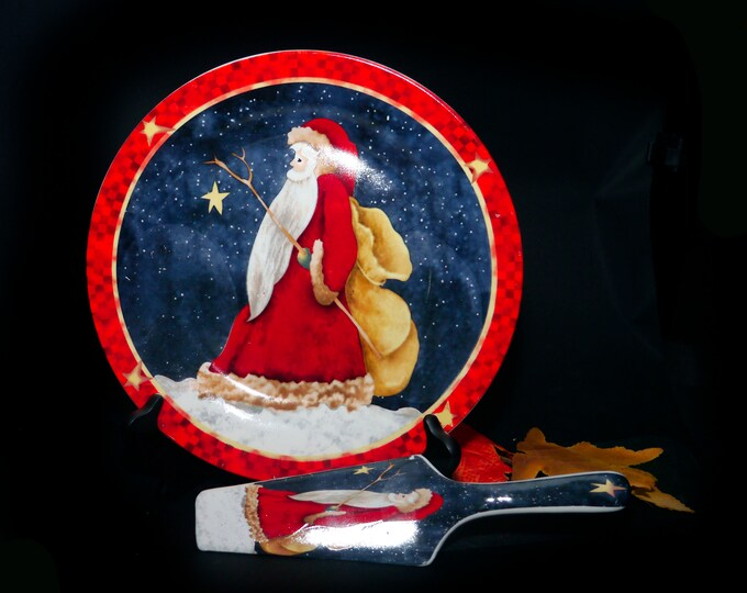Vintage (1990s) Abbott Santa Claus with sack Christmas cake serving plate with matching lifter.