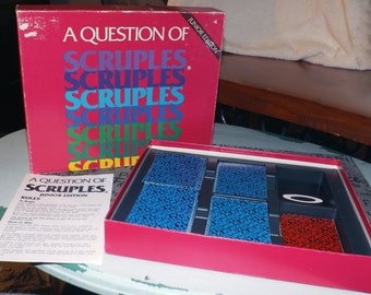 Vintage (1985) A Question of Scruples Junior Edition board game.  Published by High Game Industries, Manitoba, Canada. Complete.