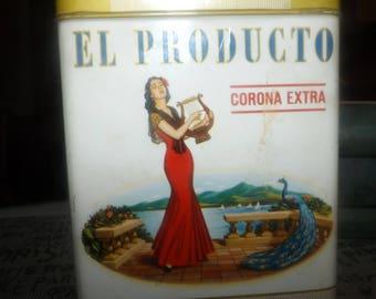 Mid-century El Producto Corona Extra 50-cigar (empty) lidded tin.  Simon Cigar Co. Montreal, Quebec, Canada.