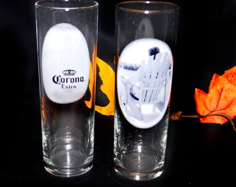 Pair of vintage (1990s) Corona Extra tall half-pint glasses. Etched-glass branding.