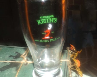 Vintage (mid 1990s) Alexander Keith's India Pale Ale pilsner glass.  Etched-glass type and logo.