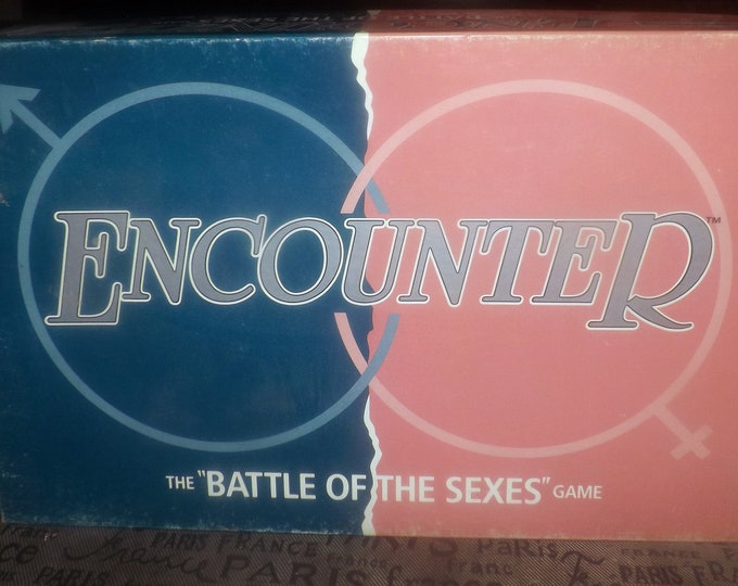 Vintage (1989) Encounter The Battle of the Sexes board game made in Canada and published by Chieftain games as game CP45.  Complete.