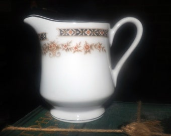 Vintage (1980s) Dynasty Japan Victoria pattern creamer or milk jug. Black band, rust, taupe flowers leaves in urn | vase, platinum edge.