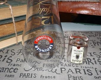 Vintage barware duo of Erdinger Weissbrau tall pilsner pint glass + Ballantines Finest Scotch Whisky shot glass. Etched logos.