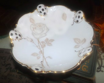 Vintage (1960s) Rosenthal Moliere 3432 Classic Rose candy, bon bon  or nut dish. Pierced lattice, golden rose and leaves.