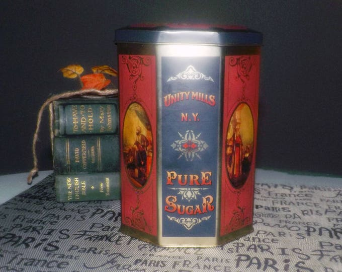 Vintage (early 1990s) Unity Mills Pure Sugar tin | canister made in England by CASE Manufacturing. Replica of a Harry's Grocery tin.