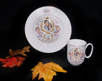 Vintage (1982) Duchess Bone China Charles and Diana Birth of Prince William set. One mug and one plate. Made in England.