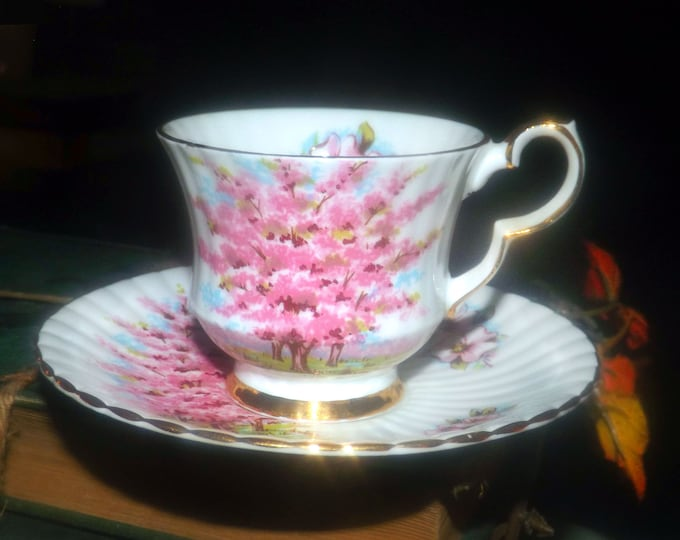 Vintage (1970s) Cambridge England Pink Mist bone china demitasse cup and saucer. Cappuccino | espresso. Pink cherry blossoms, gold edge.
