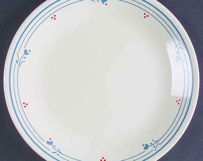 Vintage (1970s) Corelle | Corning USA Country Violets pattern salad | side plate.  Blue flowers, red dots, blue lines on cream.