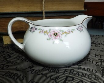 Almost antique (1920s) Alfred Meakin Milldale creamer | milk jug. Pink florals, black Greek key, gold edge.