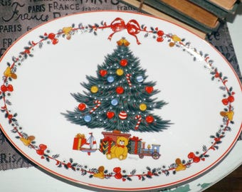 Vintage Yamaji | Himark Japan Christmastime oval platter. Christmas tree, teddy bear, presents. Red trim.