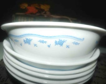 Vintage (1980s) Corelle Morning Blue fruit nappie, dessert, sauce, berry bowl. Made in USA. Sold individually.