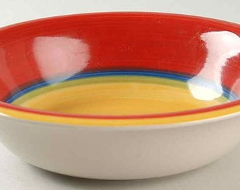 Vintage (1980s) Royal Norfolk Mambo rimmed cereal bowl. Bold red, orange, blue, green and yellow stripes, yellow center.