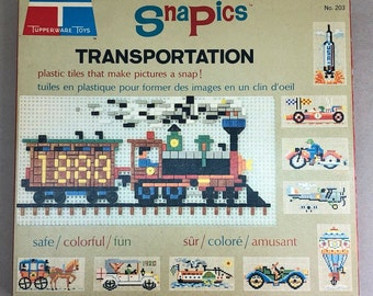 Vintage (1966) Tupperware Toys | Tuppertoys Snapics | Snap-in Transportation Set #203. Complete with instructions.