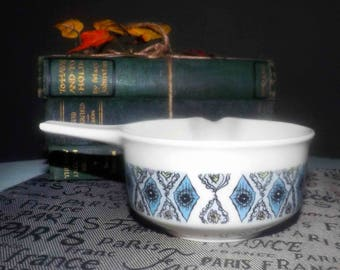 Vintage (1970s) Wedgwood Mosaic pattern gravy boat with bonus. Geometric blue and black diamonds, pink + green accents.