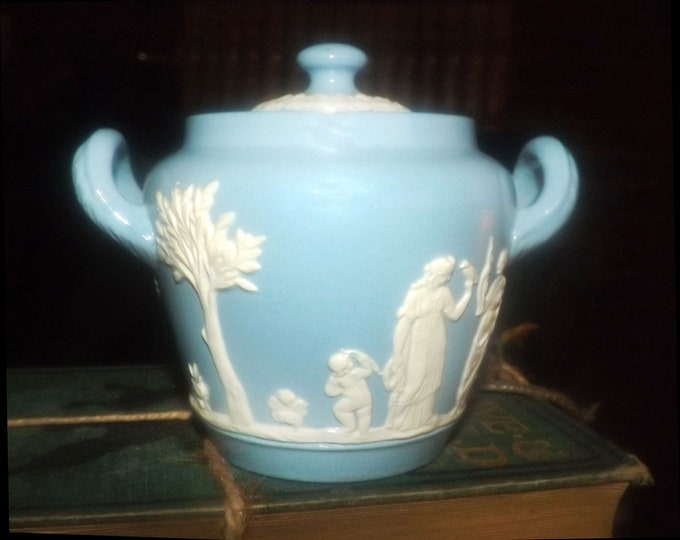 Vintage (late 1960s) Dudson Jasperware blue-and-white covered, double-handled sugar bowl.  Embossed Greco-Roman images.