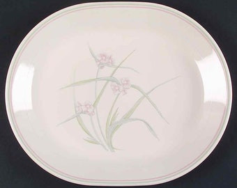 Vintage (1980s) Corelle | Corningware | Corning USA Spring Pond oval vegetable platter. Pink flowers, green band.