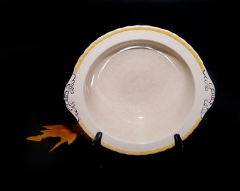 Antique (1920s) Myott Staffordshire 2165 art deco lugged rimmed vegetable serving bowl made in England. Yellow trim, embossed black accents.