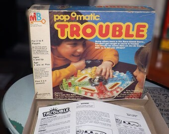 Vintage (1986) Pop-O-matic Trouble board game by Milton Bradley. Incomplete (see details below).