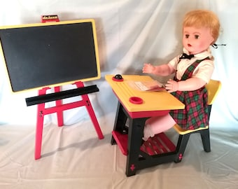 Vintage (1962) Suzy Smart Doll. Original clothes and accessories. Shoes, socks, blouse, desk, chalkboard, easel, chair, books. Not talking.