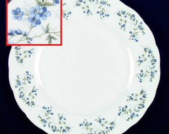 Mid-century (1950s)  Queen Anne Sonata pattern large dinner plate or charger. Bluebells and greenery, scalloped, gold edge.