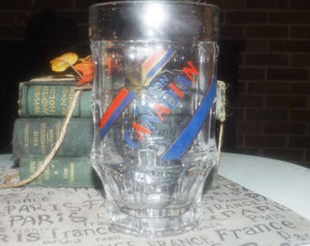 Vintage Molson Canadian .5L | 17 fluid ounce glass beer stein | mug. VERY HEAVY, etched-glass branding and type. Made by SOHM.