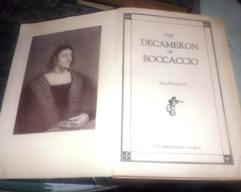 Quite vintage (1930s) The Decameron of Boccaccio illustrated hardcover book published and printed in USA by The Bibliophilist Society.