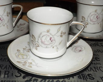 Vintage (1960s) Johann Haviland Germany Sweetheart Rose tea set (flat cup or coffee can with matching saucer).