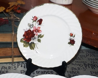 Mid century (1950s) Ridgway Rougemont bread-and-butter, dessert, or side plate. 22K gold rim, red roses, pink and white florals.
