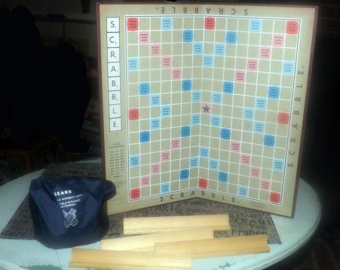 Vintage (1976) Scrabble board game published by Selchow & Righter. Wooden tile racks and letter tiles. Missing 4 tiles (see details below).