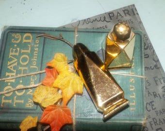 Mid-century (1950s) Royal Winton Golden Age gold luster ware salt and pepper shaker set.  Triangular shape.
