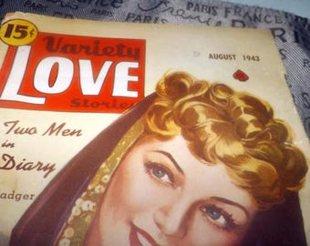 """Early mid-century (1943) Variety Love Stories """"The Two Men in Her Diary"""" Maxine Badger. Ace Int'l 
