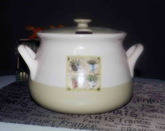 Vintage (1980s) Hitech Legacy President's Class England covered, double-handled tureen. Herbs in pots with herb names.
