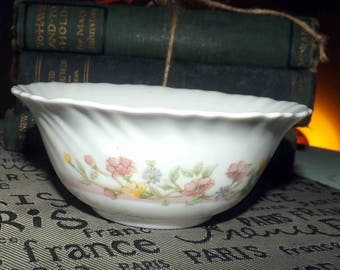 Vintage Arcopal France cereal or dessert bowl.  White milk glass, pink band, pink, purple, yellow flowers, ruffled | scalloped edge.