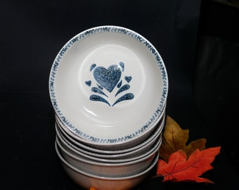 Vintage (2000) Gibson Designs My Love cereal, soup or salad bowl. Blue hearts, blue sponge border. Sold individually.