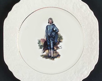 Vintage (1960s) Lord Nelson Pottery ironstone Blue Boy squared, creamware salad plate. Inset gold band, scalloped edge.