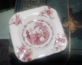 Early mid-century (1940s) Masons Watteau Pink transferware small, square ashtray. Pink florals, people, landscape. Holds 4 cigarettes.
