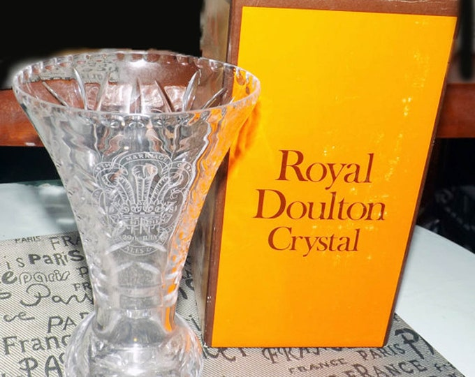 Vintage (1981) Royal Doulton | Webb Corbett Lead Crystal vase. Limited edition to commemorate the Wedding of Prince Charles to Lady Diana.