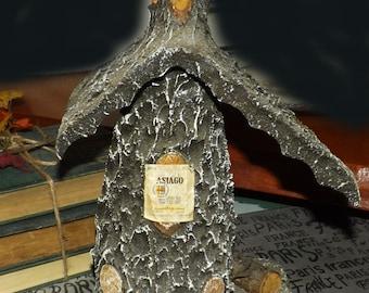Vintage (1970s) Amaro Asiago Fratelli Rossi bottle. Handmade wood ski chalet, hand-painted ski scene. One of a kind.