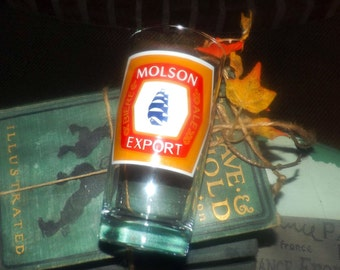 Vintage (1980s) Molson Export Canadian Beer small tumbler | water glass.  Etched-glass artwork.  Great man gift.