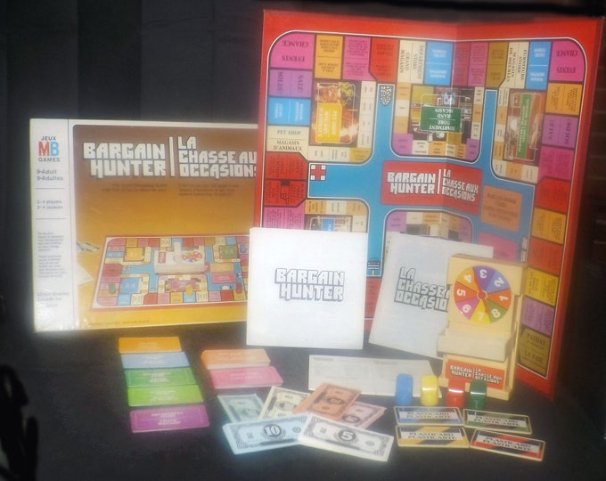 Vintage (1981) Bargain Hunter board game. Milton Bradley. Made in Canada. Complete.