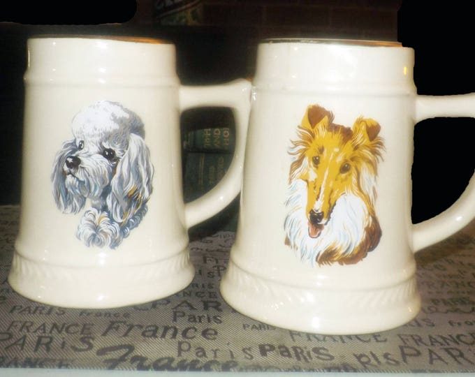Vintage (1960s) ceramic stein with image of your choice of Terrier or Collie. Made in USA, decorated at Sovereign Potters. 22K gold rim.