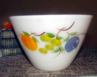 Mid-century (late 1950s) Anchor Hocking | Fire-King | Fireking large glass mixing bowl with hand-painted fruit. Made in USA.