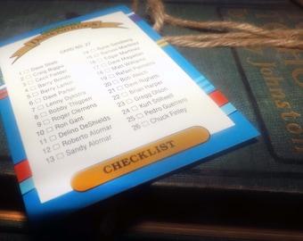Vintage (1991) DonRuss Diamond Kings baseball Check List card #27.