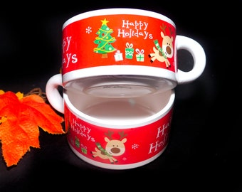 Pair of vintage Christmas Happy Holidays soup mugs. Reindeer, Christmas tree.